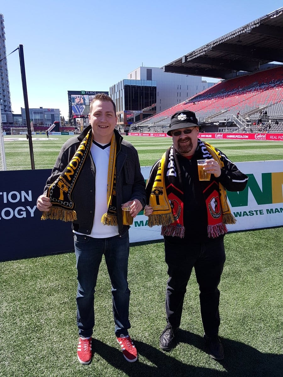Two group members at TD Place - Ottawa to see an Ottawa Fury game.
